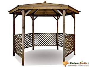 Kiosque de jardin en bois hexagonal Lora: Jardin