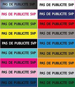 Plaque Boite AUX Lettres «PAS DE Publicite SVP» Stop PUB EN Resine 8×2