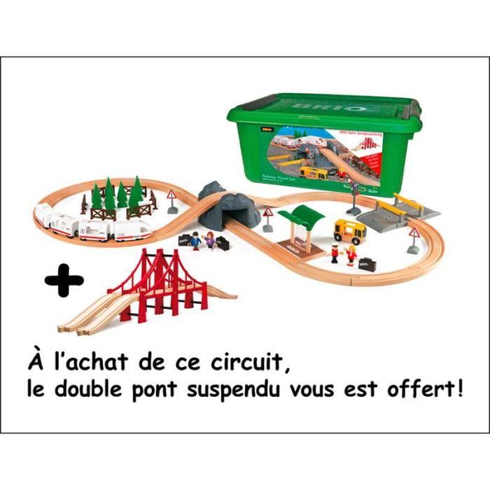 Brio 33169 103 Circuit de train en bois avec pont suspendu offert