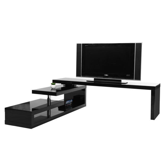 Meuble TV design laqué noir pivotant ? Achat / Vente meuble