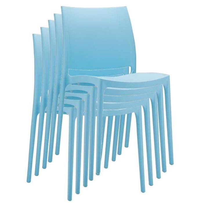 Chaise de jardin empilable en plastique bleu clair, Dim : H81 x P50 x