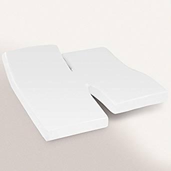 Drap housse 2x80x200 uni coton blanc TPR Tête et pied relevable