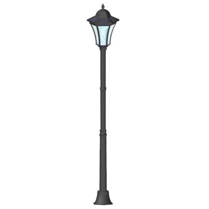 Lampadaires MAINE Lampadaire Solaire Noir Lampadaire solaire en