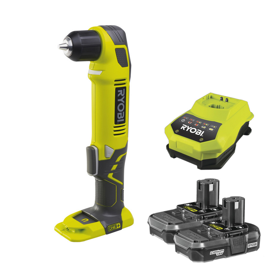 Ryobi ONE+ 18V Cordless Angle Drill with 2 x Battery & Charger Bundle