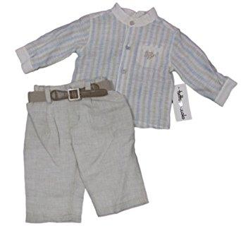 chemise rayures lin (bleu/beige) 62cm / 3 mois: Vêtements