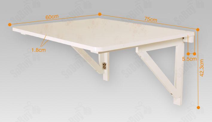 SoBuy® Table de cuisine murale rabattable pliable 75×60 double