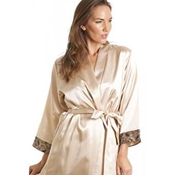 Robe de chambre luxueuse en satin femme noir et ton doré