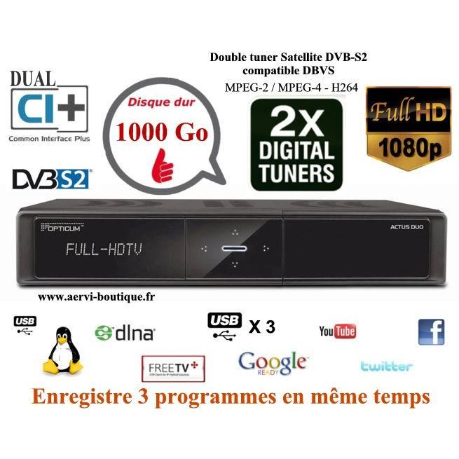 Double Tuner Satellite hdd 1000 Go Actus Duo récepteur