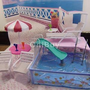 JEU DE Piscine Transat Chaise DE Plage Parapluie Pour Poupée Barbie