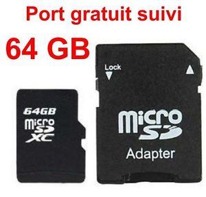 Carte Micro SD 64 GO + adaptateur SD Port gratuit suivi