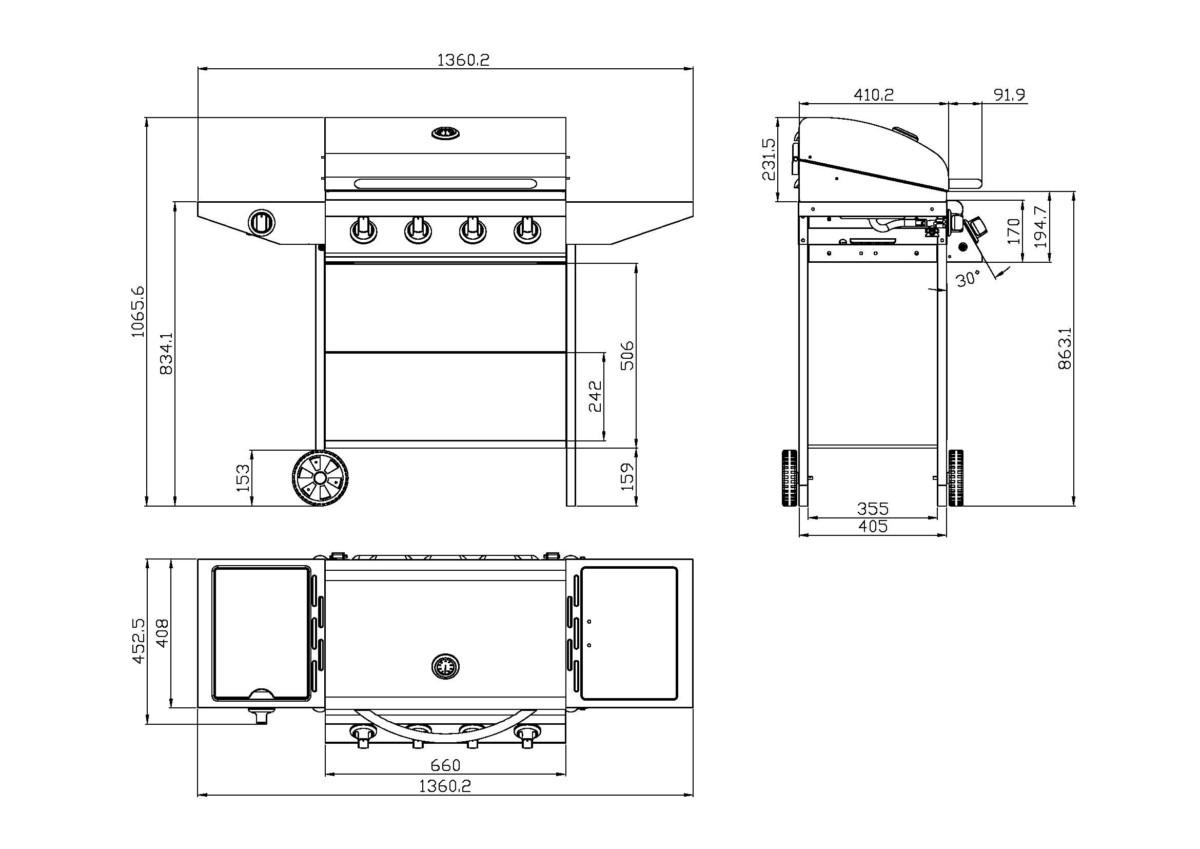 Concept Usine Tallahassee : Barbecue a gaz 4 brûleurs + 1 brûleur