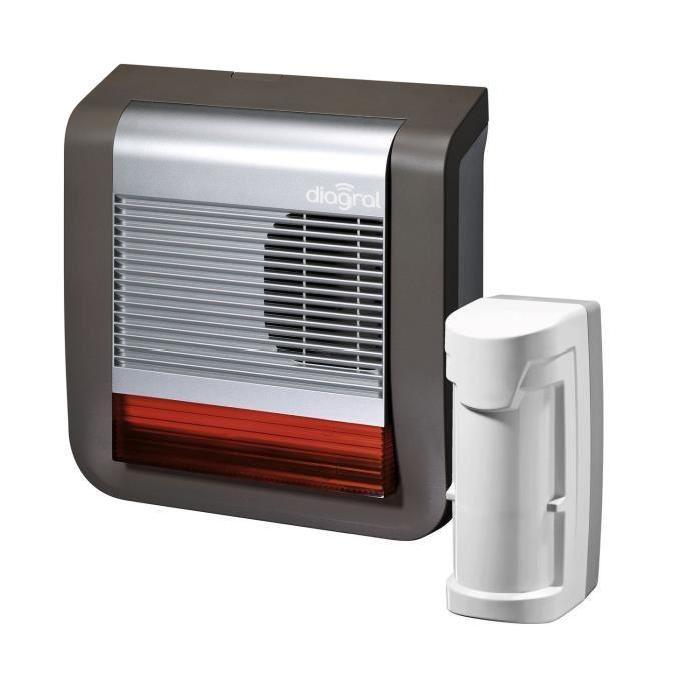 DIAGRAL Pack Alarme maison sans fil dissuasif sans fil avec détecteur