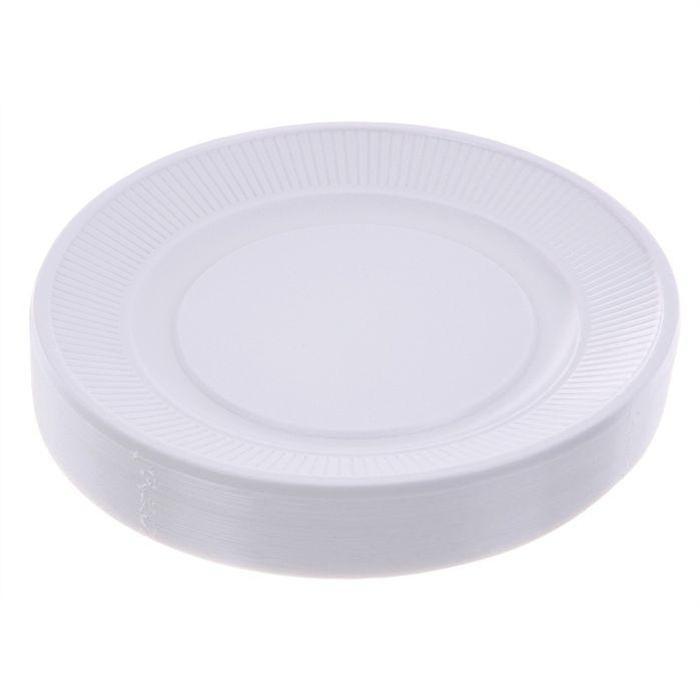 Lot de 50 assiettes plastique blanc Achat / Vente assiette service