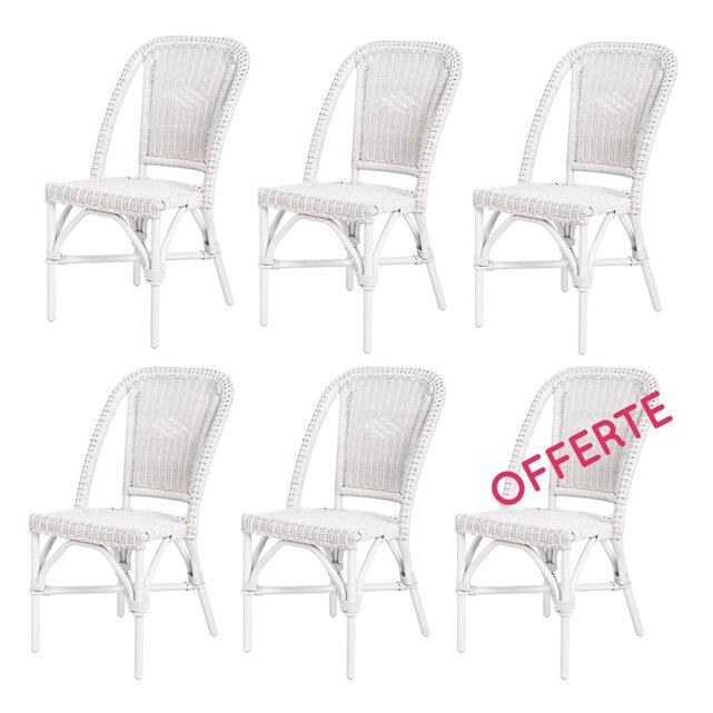 ROTIN DESIGN Lot de 6 chaises en rotin blanche Selva Chaise de