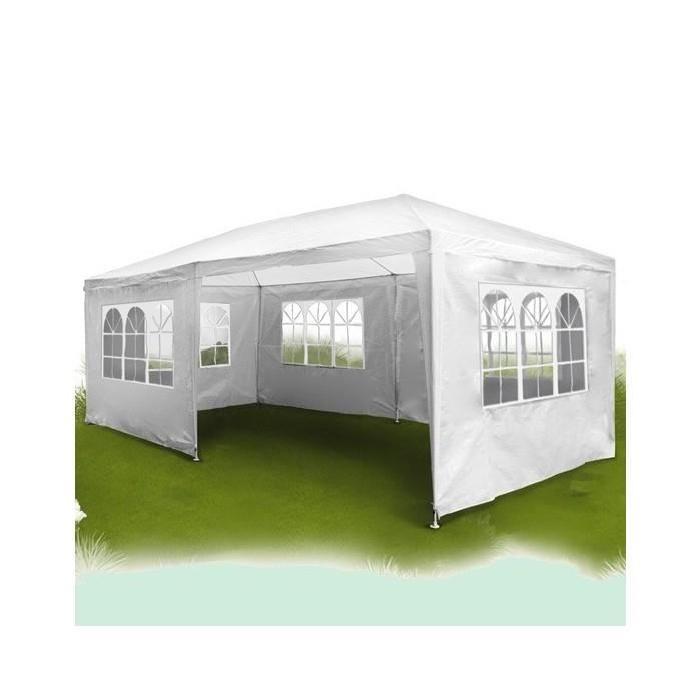 Tonnelle 3m sur 6m avec rideaux (Blanc) Achat / Vente tonnelle