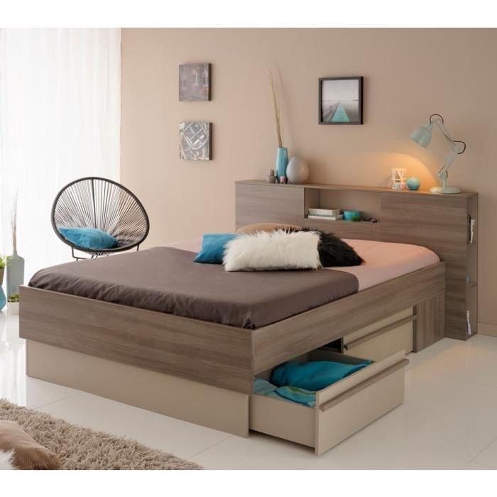lit à tiroirs + Tête de lit 140*190 CITI L 170 x l 214 x H 89 cm