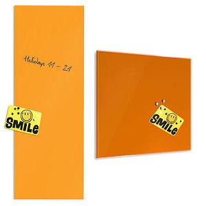 Tableau en verre aimante inscriptible 2 tailles memo pense bete orange