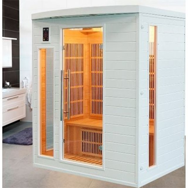 Sauna infrarouge soleil blanc 3 personnes couleur unique France Sauna