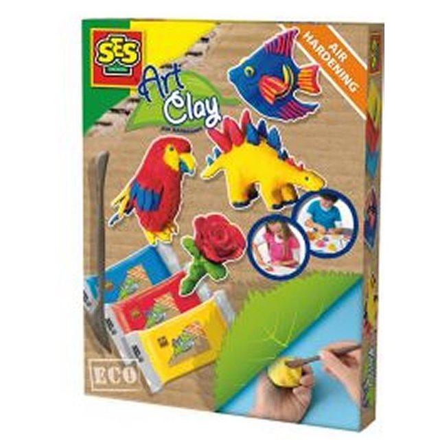 SES CREATIVE Pâte à modeler Eco Art Play : Dinosaures