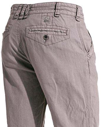 Mezaguz Pantalon gris en lin design Couleur : Gris Taille : XXL