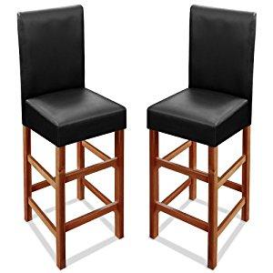 de bar assise en simili cuir noir bois acacia assise 75cm Lot de