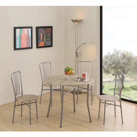 Ensemble table + 4 chaises LOW Chêne/Alu à prix : pas cher et