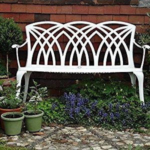 Banc de jardin April en aluminium design 'Fer Forgé' blanc