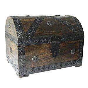 Coffret pirate Trésor 28x21x21cm Bois de manguier Style Antique