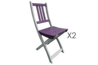 Salon de jardin Lot de 2 chaises pliantes en acacia coloris aubergine