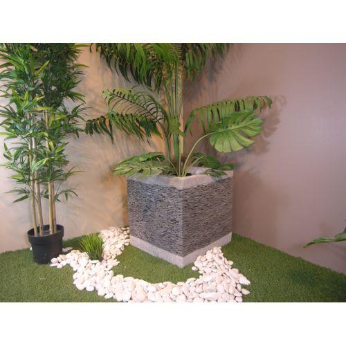 Bonareva Pot bac jardinière carré cube ardoise 50cm jardin terrasse