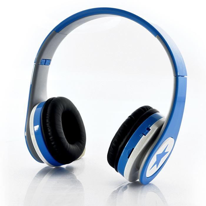 sans fil pliable Lecteur MP3 Radio FM Bleu casque écouteur audio