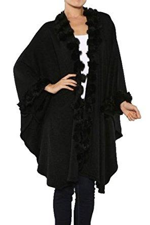 Cape poncho femme avec froufous en fourrure synthetique noire (TAILLE