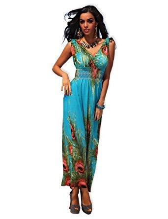 Mode Robe longue à motif fleur «Birdy» Bleu Grande Taille