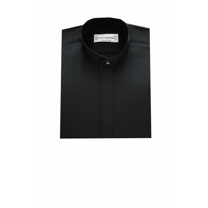 col mao pour homme noire Noir Superbe chemise noire à col Mao