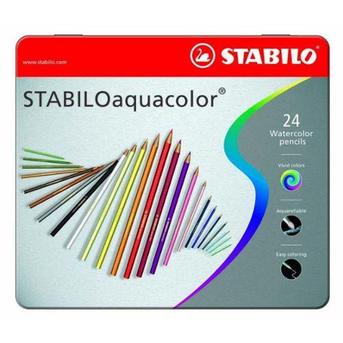 Crayon De Couleur Stabilo Aquacolor Boîte Métal De 24 Crayons De
