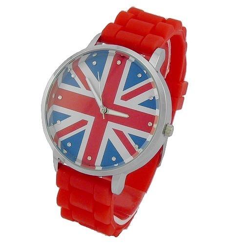 Montre Quartz Bracelet Silicone Drapeau Anglais Union Jack