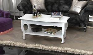 Table de salon / Table basse blanche laquée bois MDF