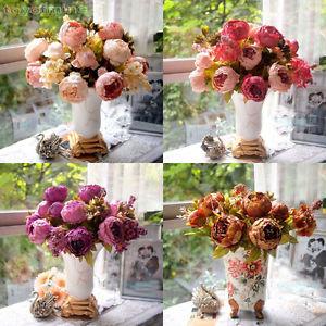 Bouquet de fleur artificielle pivoine plante decoration mariage maison