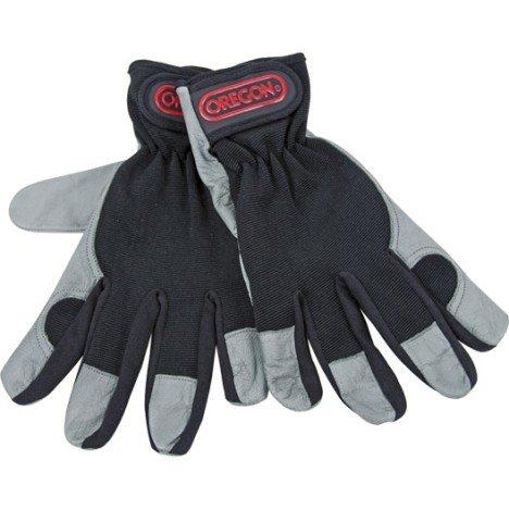 Gants de jardinage en cuir OREGON noir et gris, taille 9 / L | Leroy