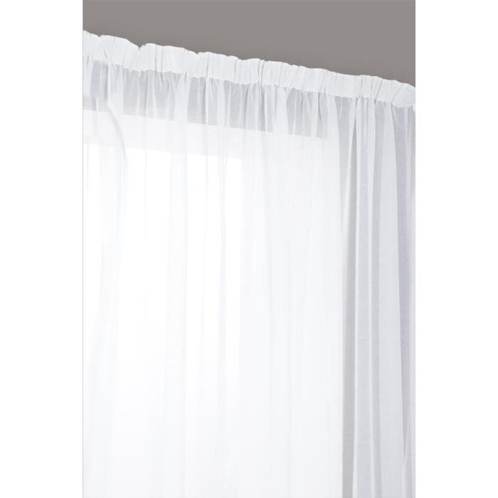 Rideau Voilage Grand Largeur à Galon Fronceur 280×240 cm Blanc Ecru