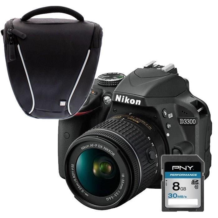 NIKON D3300 Noir + AF P 18 55VR + Sacoche + carte 8Go Reflex avec