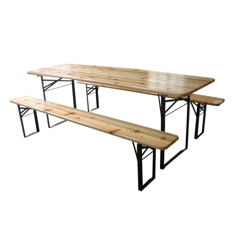 Table et 2 bancs pliants bois 180cm 8 places Pique nique