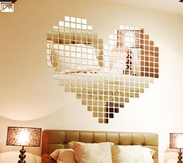 autocollant de mur de mosaïque de miroir TV Salon Décoration