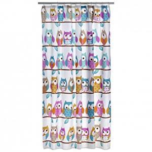 Rideau de douche textile motif hibou kautz oiseau polyester 180 x 200