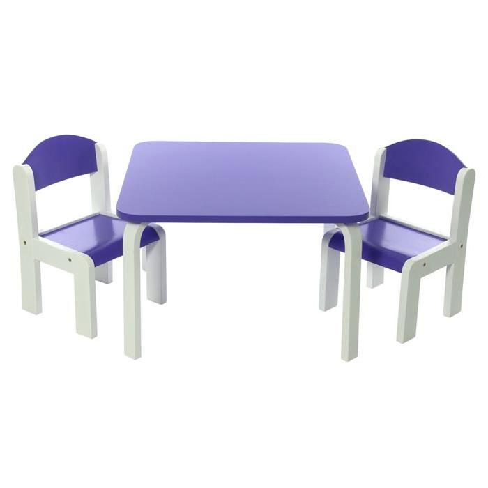 Ensemble Table et Chaises enfant Violet en bois Fabio Momo for Kids
