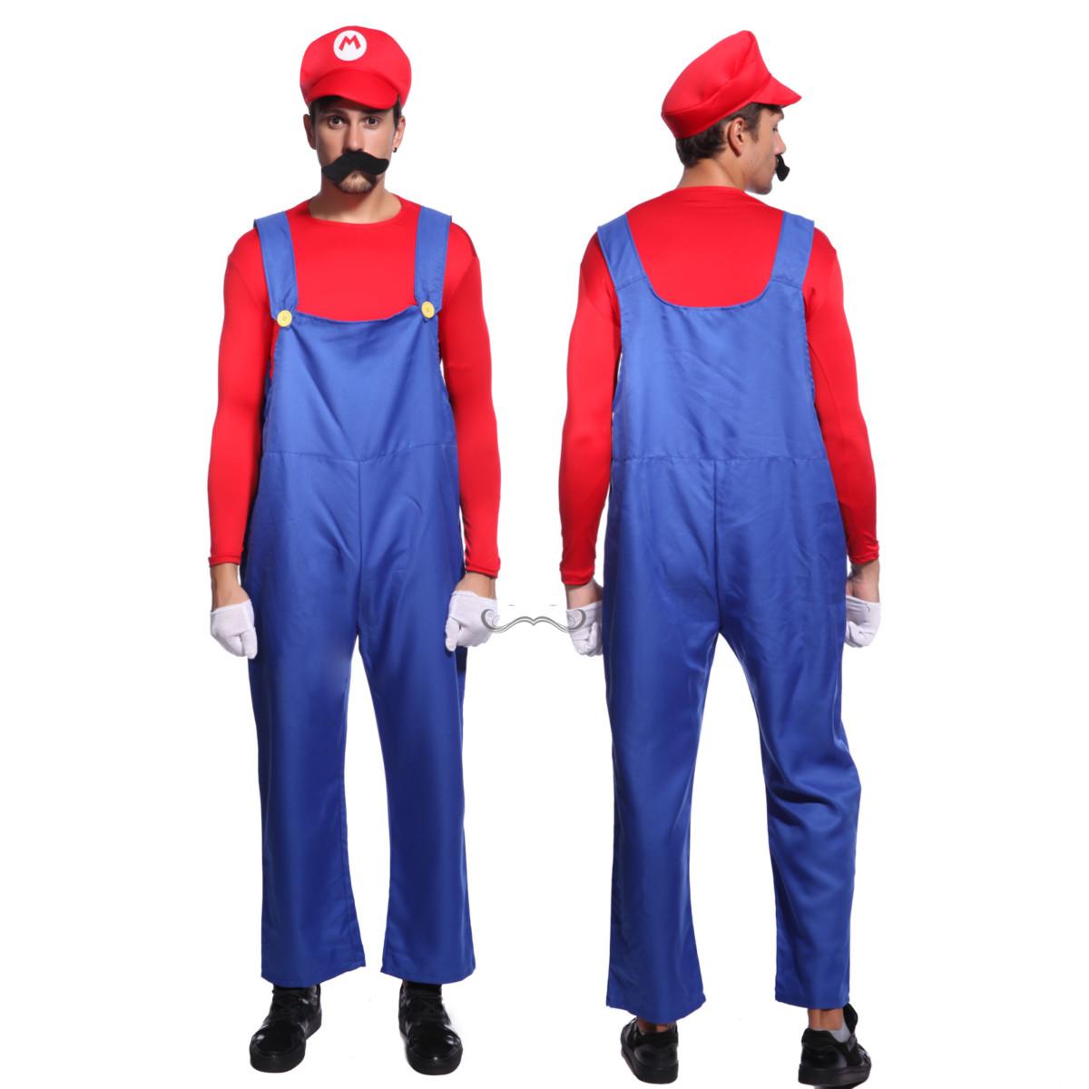 Costume deguisement Super Mario Luigi Toad femme homme fete rouge vert