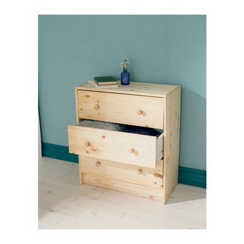 RAST commode 3 tiroirs IKEA de bois massif, un matériau naturel et