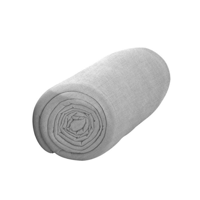 Drap housse FLANELLE 140×190 Zinc Achat / Vente drap housse