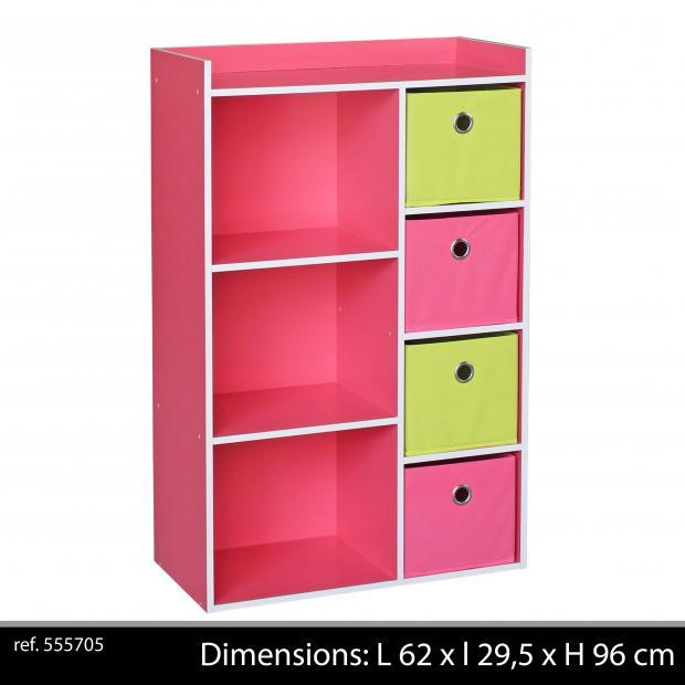 Meuble de Rangement Enfants 3 niches 4 tiroirs Armoire de rangement