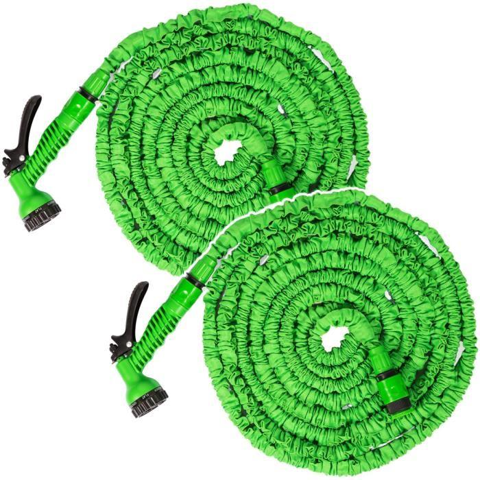 Tuyau d'arrosage extensible, flexible et rétractable 15 mètres vert